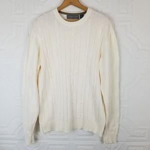 Oscar De La Renta Cream Cable Knit Sweater